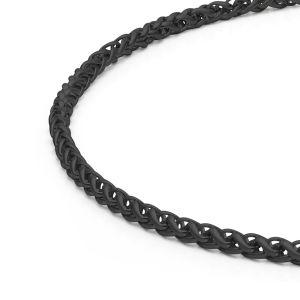 Detailansicht einer  schwarzen Zopfkette aus antiallergenem Edelstahl mit Karabinerverschluss von MONOMANIA. > Schwarze Edelstahl-Zopfkette mit Karabinerverschluss von MONOMANIA im Detail.