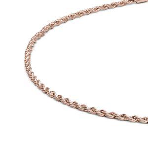 Detailansicht einer rosegoldfarbenen Kordelkette aus antiallergenem Edelstahl mit Karabinerverschluss von MONOMANIA. > Rosegoldfarbene Kordelkette mit Karabinerverschluss von MONOMANIA.