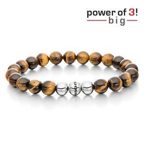 Gesamtansicht eines braunen Perlenarmbandes aus großen, echten Tigerauge-Perlen mit drei antiallergenen Edelstahlperlen. > Perlenarmband aus großen, echten Tigeraugeperlen von MONOMANIA.