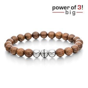 Gesamtansicht eines maskulinen, braunen Perlenarmbandes aus echten Holzperlen aus Nussbaumholz mit drei antiallergenen Edelstahlperlen. > Perlenarmband aus echten Nussbaumholz-Perlen.