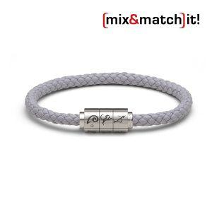 "(mix&match)it! Armband ""Widder"", Leder, grau Bild 1"
