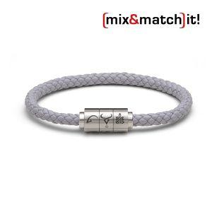 "(mix&match)it! Armband ""Stier"", Leder, grau Bild 1"