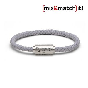 """(mix&match)it! Armband """"Zwillinge"""", Leder, grau Bild 1"""