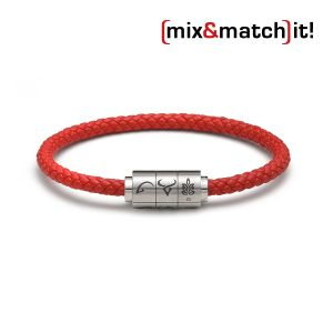 "(mix&match)it! Armband ""Jungfrau"", Leder, rot Bild 1"