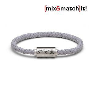 "(mix&match)it! Armband ""Jungfrau"", Leder, grau Bild 1"