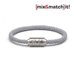 "(mix&match)it! Armband ""Steinbock"", Leder, grau Bild 1"
